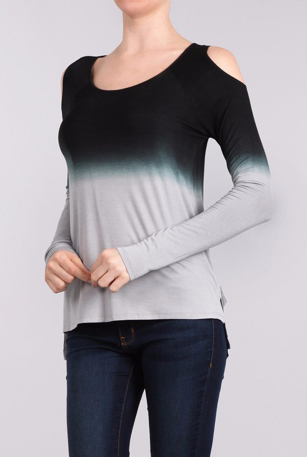 Cold Shoulder Ombre Top