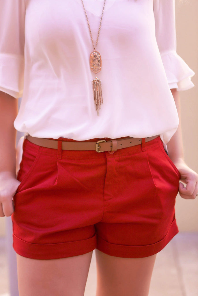 Belted Shorts in Red