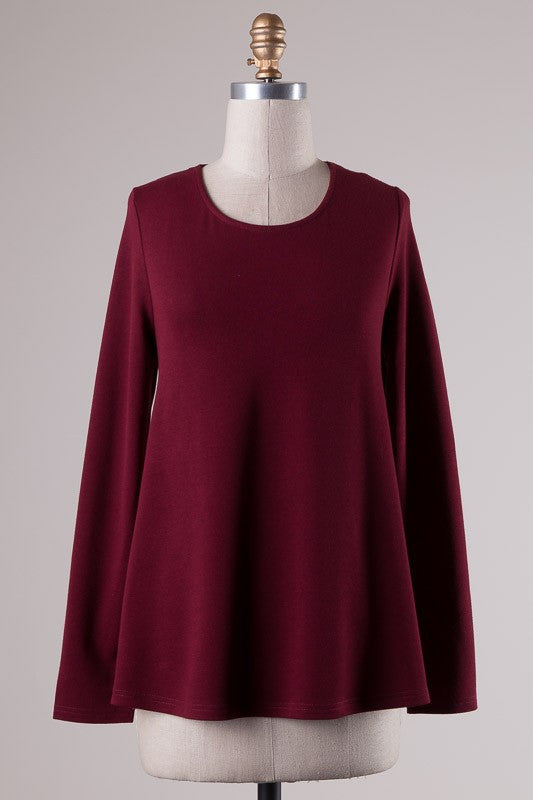 Cross My Back Top in Burgundy