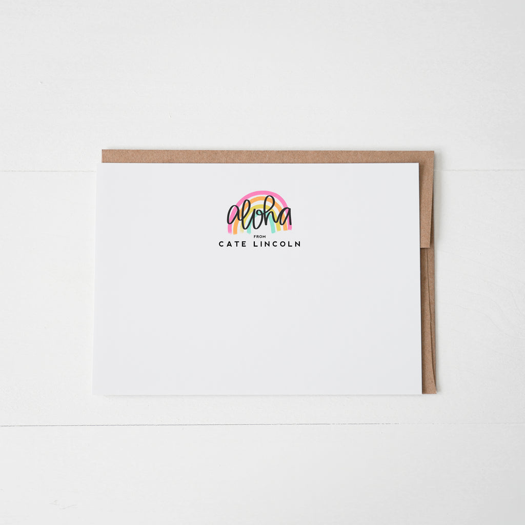 Aloha Personalized Notecard Set of 12 - Happily Ever Tees