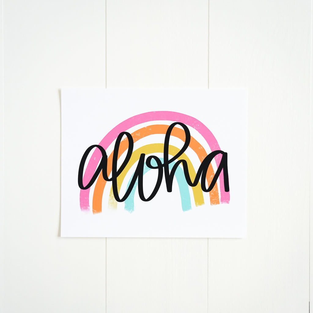 Aloha Rainbow Illustrated Art Print from Happily Ever Tees
