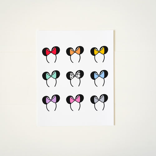 Minnie Bow Headband Illustrated Art Print from Happily Ever Tees