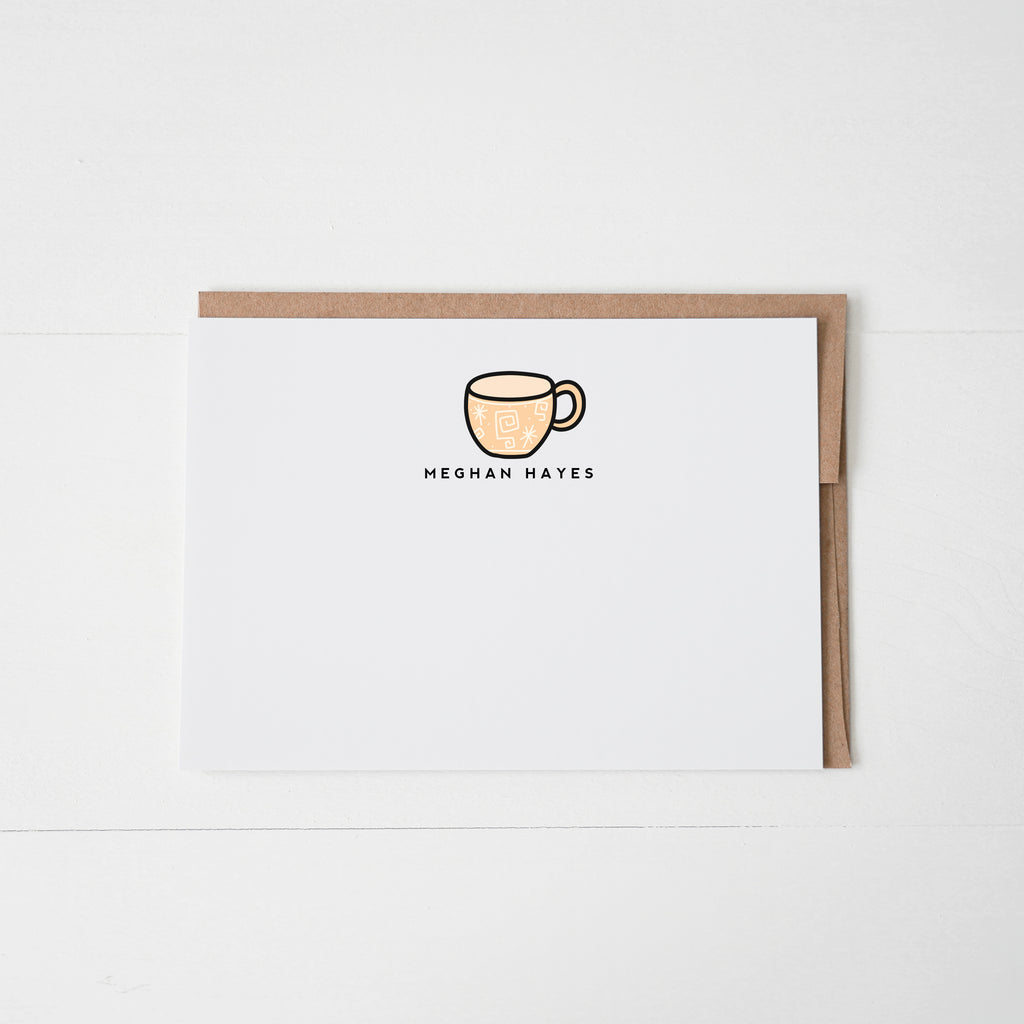 Tea Cup Personalized Notecard Set of 12 - Happily Ever Tees