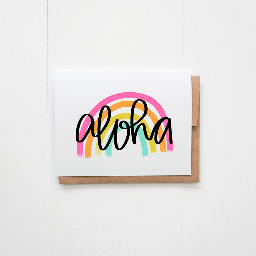 Aloha Rainbow Greeting Card - Happily Ever Tees