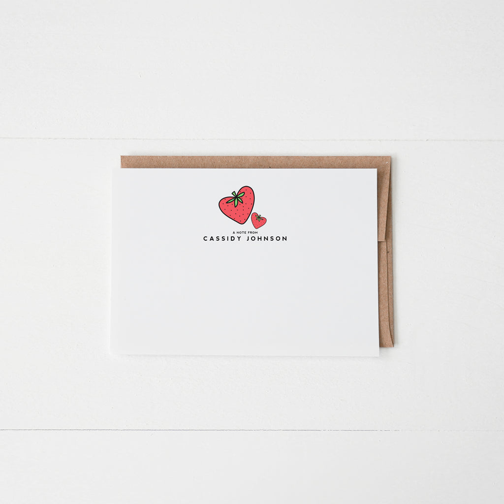 Strawberry Personalized Notecard Set of 12 - Happily Ever Tees