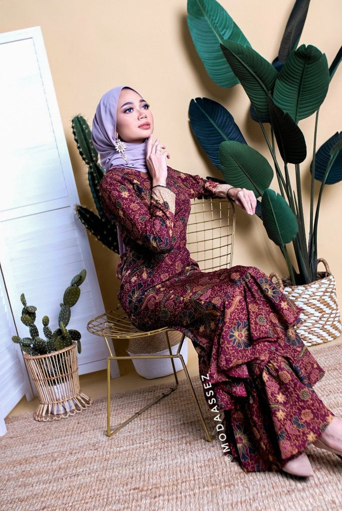 EID ADHA EDT - UFAIRAH DRESS [BATIKMAROON]