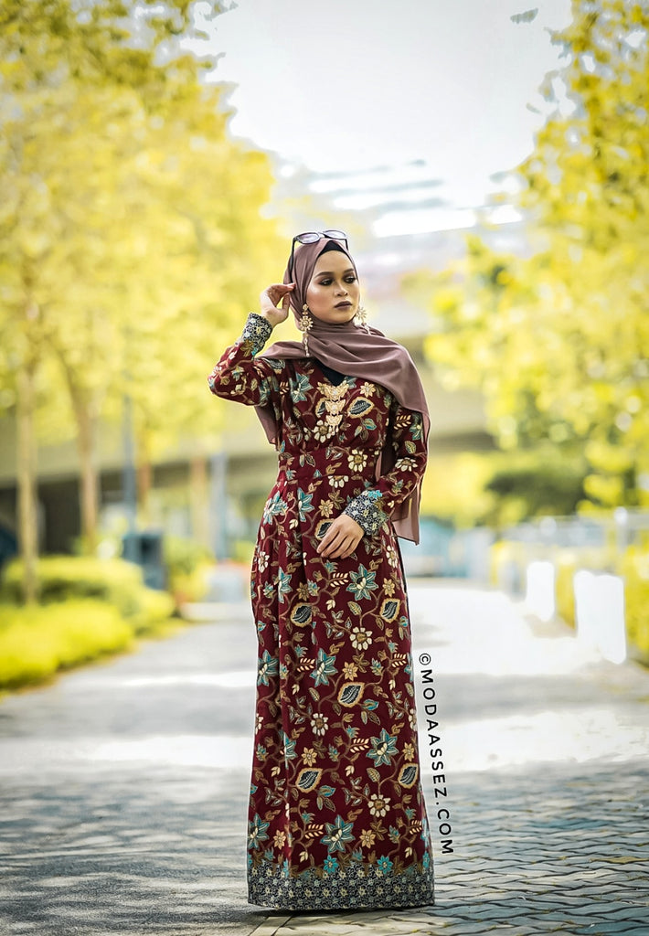 EID ADHA EDT - SYAZA DRESS [Maroon]