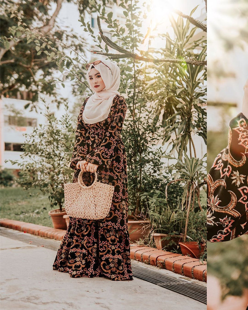 EID ADHA EDT - ADILA DRESS [BATIKBLACKREDDHOBY]