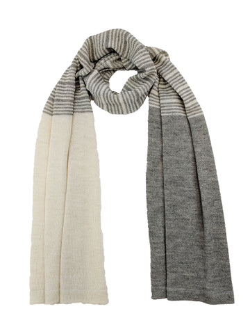 "Casual Striped Wrap ""Ivory & Ash"""