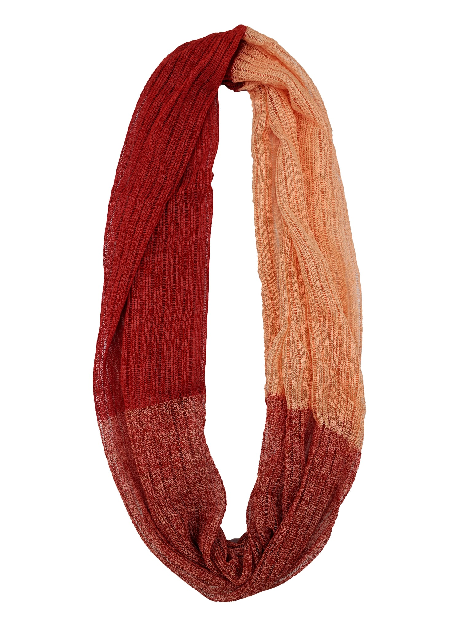"Infinity Scarf ""Bright Red & Peach"""