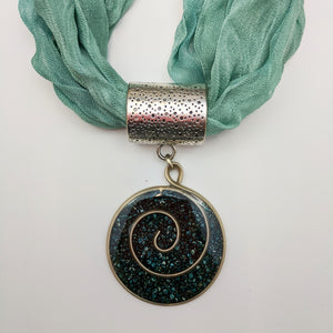 "Round-shaped Necklace with fabric strap ""Teal Combo"""