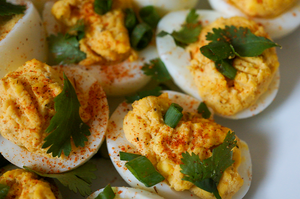 Thai Deviled Eggs with Chili Garlic Hot Sauce