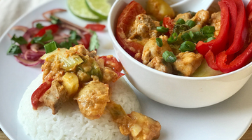 Yai's Thai Red Thai Coconut Curry with Pork and Vegetables