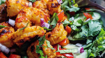 Thai Shrimp Salad with Sweet Chili Garlic Almond Butter Dressing