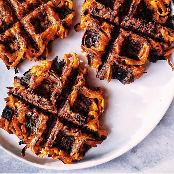6 ingredient spiralized sweet potato waffle