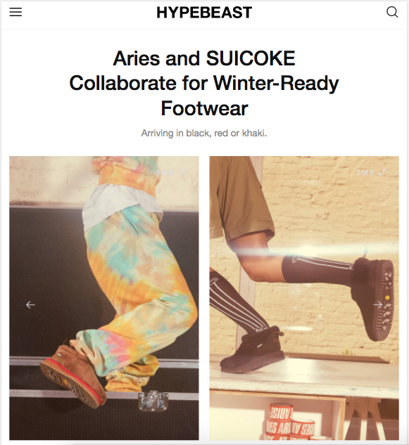 HYPEBEAST: Aries and SUICOKE Collaborate for Winter-Ready Footwear