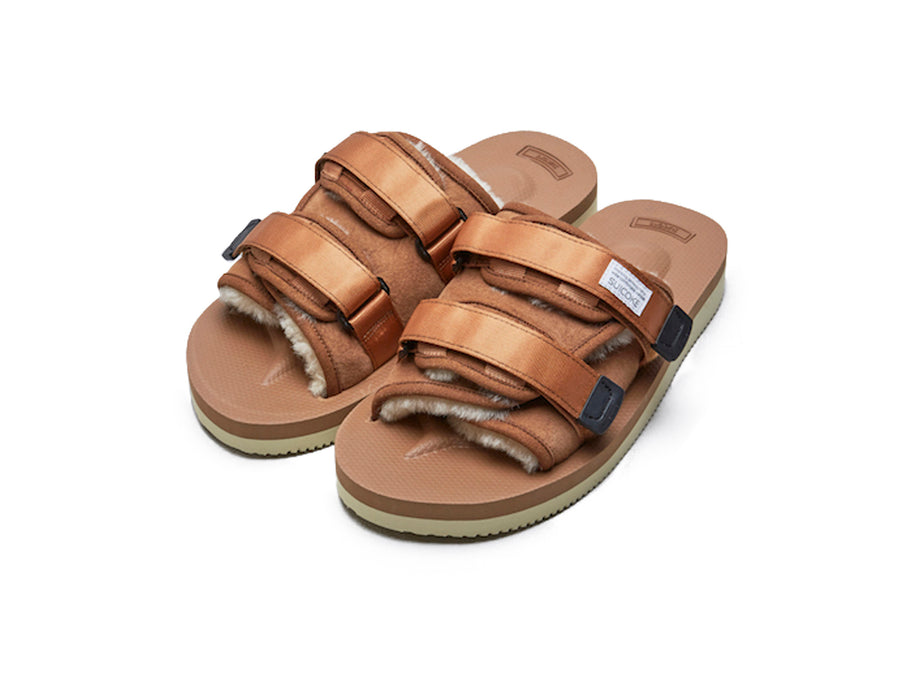 Suicoke Moto-Vm2 Brown Open Toe Slide Sandal Shearling Lining