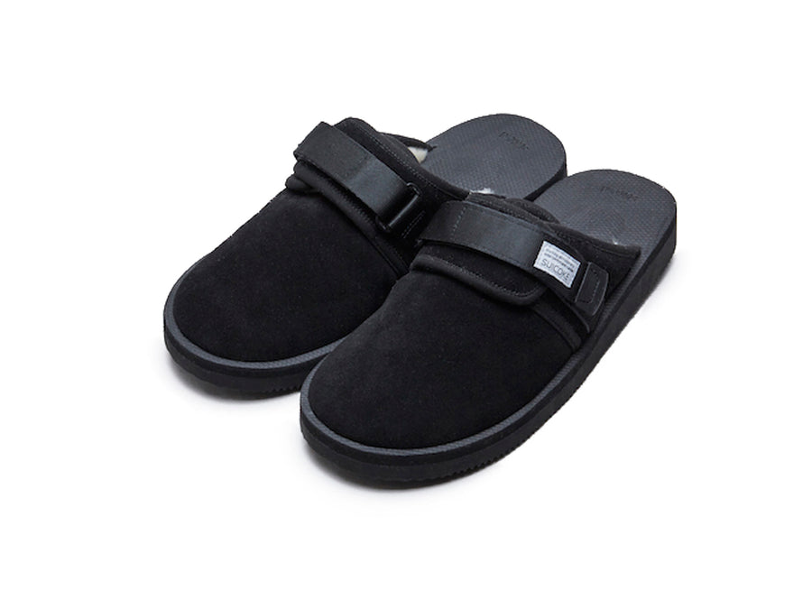 Suicoke Zavo-M Black Closed Toe Slide Shearling Lining