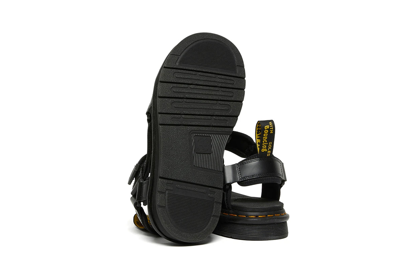 SUICOKE Dr. Martens Collaboration Edition DEPA Sandals in Black Smooth Leather Official Webstore Spring 2021