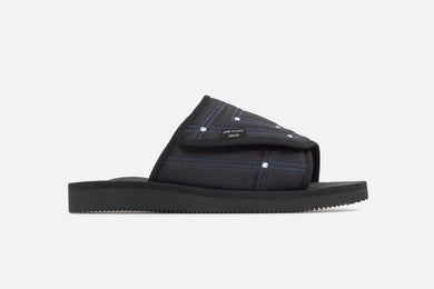 John Elliott SUICOKE Edition SAW slide in black from SS21. Single side view of right sandal.