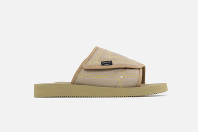 John Elliott SUICOKE Edition SAW slide from SS21. Single side view of right sandal.