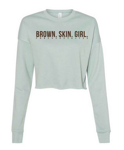 Brown Skin Girl Crop Sweatshirt- Rustic Blue