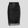 Natasha | Leather Skirt with Lace Hem