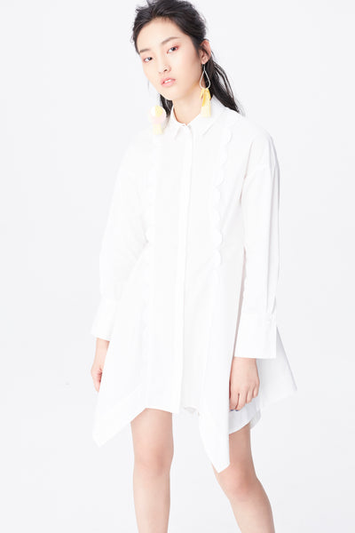 White asymmetrical long sleeve shirt dresses