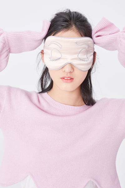 Pink silk sleep mask