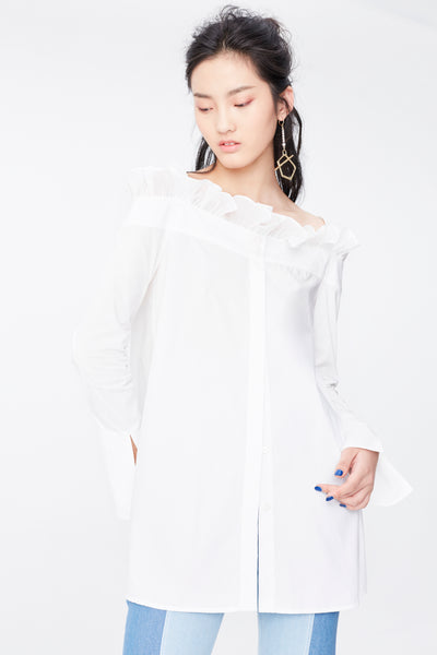 White off shoulder long sleeve shirt