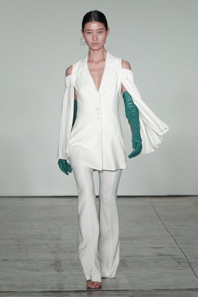 White Jacket with Ruffled Sleeves