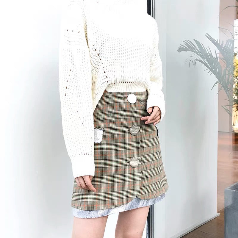 Checkered Paillette Skirt