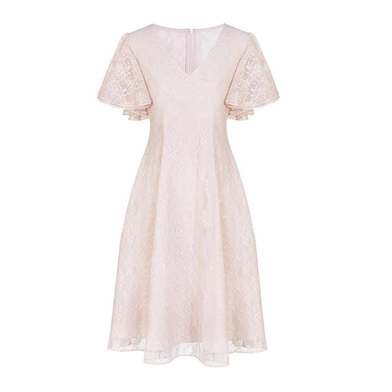 Pink V-Neck Lace Dress