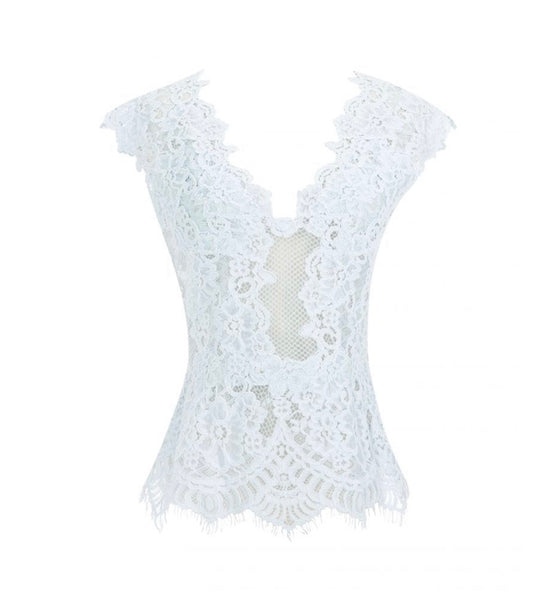V-Neck Lace Top