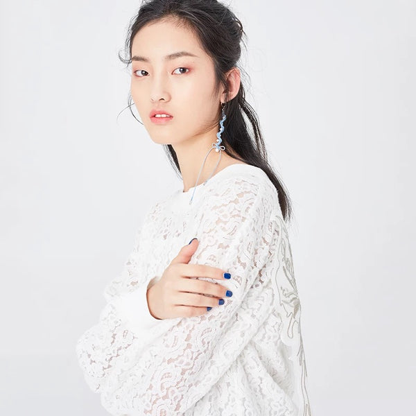 White Lace Sweatshirt