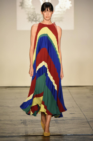Yaknorbu Runway Color Block Long Dress