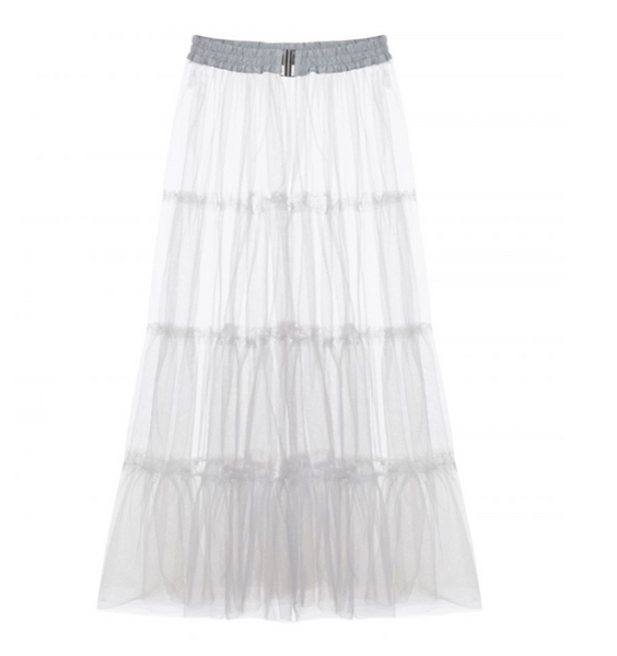 High-Waist Sheer Skirt
