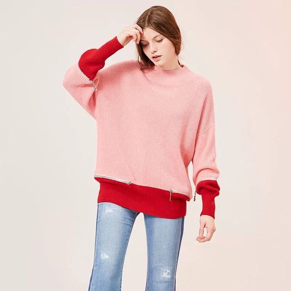 Zipper Color Block Sweater
