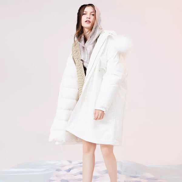 Lace Faux Fur White Down Coat