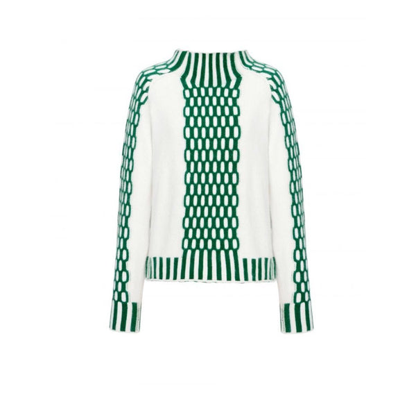 Monk Neck Green Check Sweater