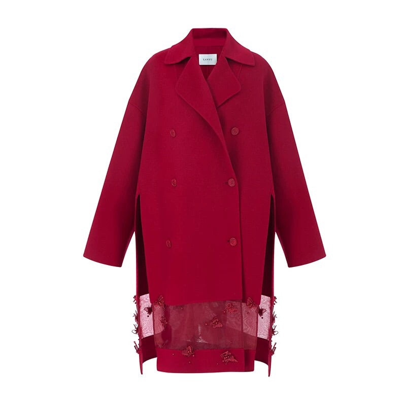 Embroidery Cashmere Wool Red Coat
