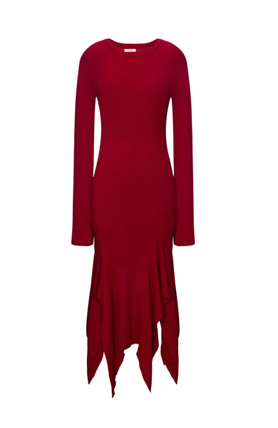 Wool Asymmetry Knit Dress