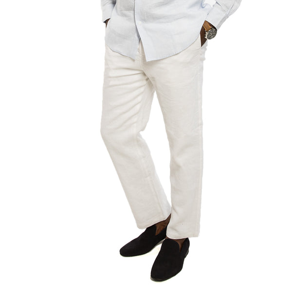 Bry-Lined Linen Pant in Coconut - Frontal View