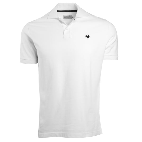 White Polo Shirt with Navy Rooster - Front View