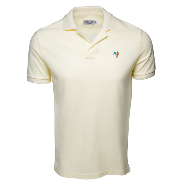 Yellow Polo Shirt with Multi-Color Rooster - Front View