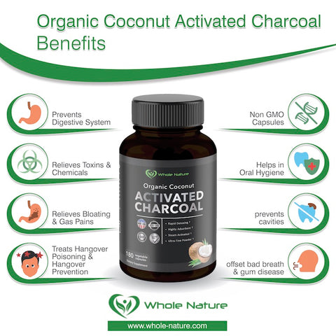 Image of Whole Nature Organic Coconut Activated Charcoal Capsules, - Whole Nature Vitamins & Supplements