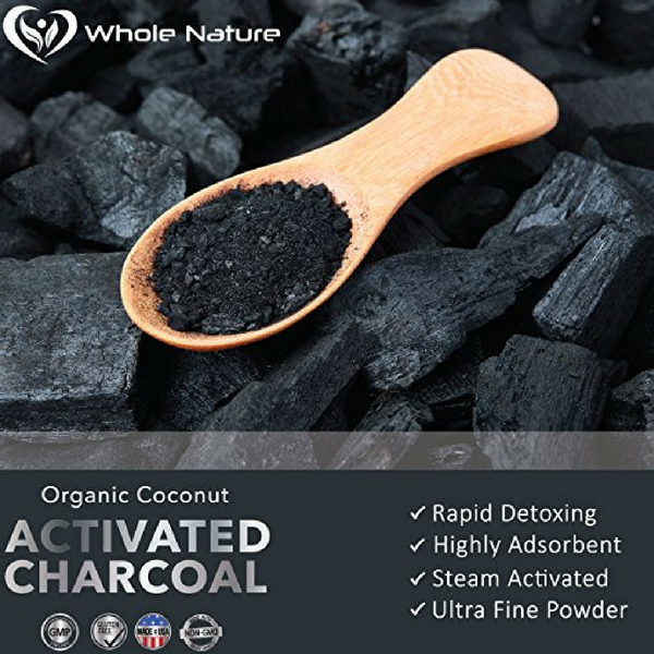 Organic Coconut Activated Charcoal Capsules, 180 Vegetable Pills, for Digestive System, Teeth Whitening, Detoxification, Gas and Bloating. Non GMO~Vegan~ Made in USA