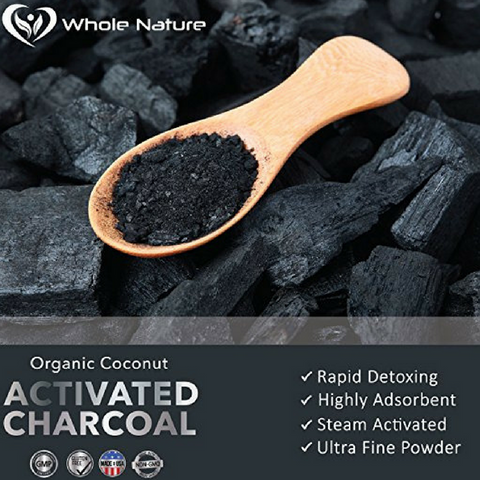 Image of Organic Coconut Activated Charcoal Capsules, 180 Vegetable Pills, for Digestive System, Teeth Whitening, Detoxification, Gas and Bloating. Non GMO~Vegan~ Made in USA