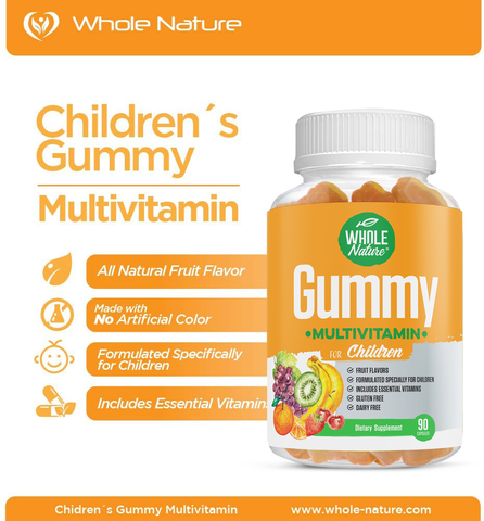 Children's Gummy Multivitamins - Includes All Daily Essential Vitamins and Minerals, 90 Gummies, All Natural Sugar, Non Dairy and Gluten Free