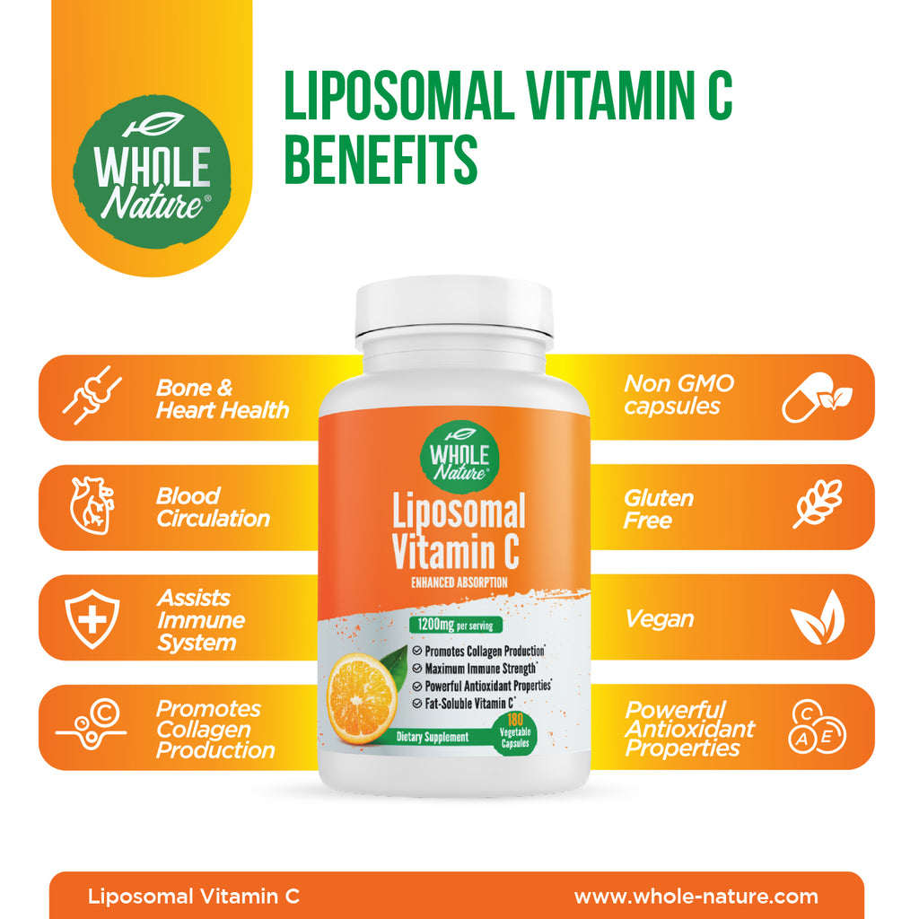 Whole Nature Liposomal Vitamin C Supplement Pills 1200 mg - High Absorption 180 Vegan Capsules Fat Soluble Vit C, Maximum Strength Immune System and Collagen Booster, Sunflower Lecithin , lypo spheric